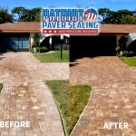 Patriot Paver Sealing and Pressure Washing Before and After Driveway